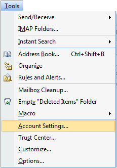 Set gmaill account in outlook 2007 using IMAP